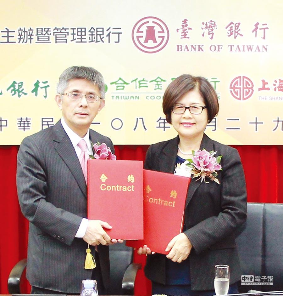 簽約儀式由中租迪和董事長陳鳳龍(左)及臺灣銀行總經理邱月琴(右)共同主持。圖/臺灣銀行提供
