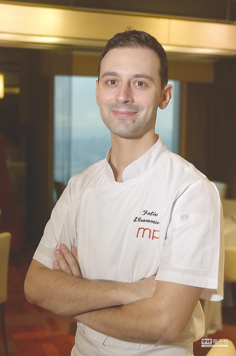 香格里拉台北遠東國際大飯店〈馬可波羅〉義大利餐廳新任主廚法比歐(Fabio Strammiello),曾在包括丹麥〈Noma〉等著名餐廳歷練,烹調手路與視野有超齡水準。圖/姚舜