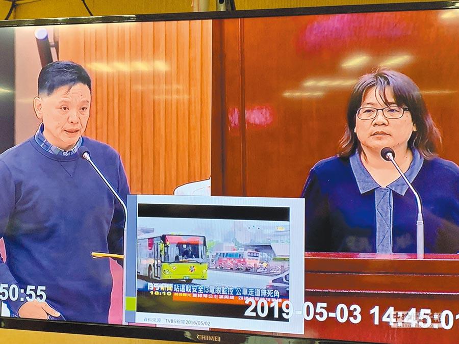 台北市議員洪健益昨於交通部門質詢要求公運處,應訂定北市聯營公車內設置監視器數量、位置等規範。(林縉明攝)