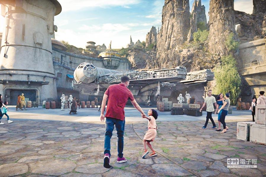 《星際大戰》樂園預定於今年5月31日在美國加州迪士尼開幕,圖為園區示意圖。(法新社)
