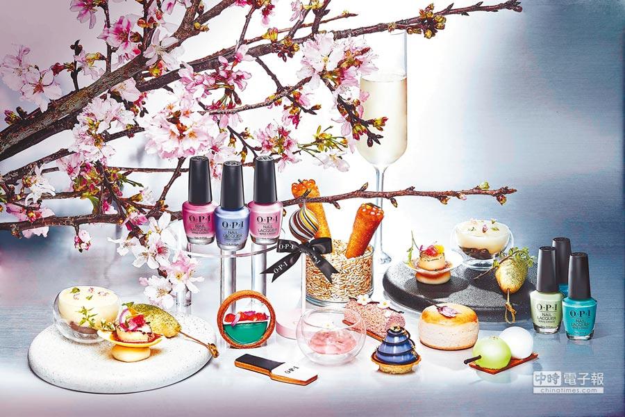 「玩轉東京」春夏限定聯名下午茶,以OPI春夏最新系列指彩為主題設計出繽紛甜品。(台北萬豪酒店提供)