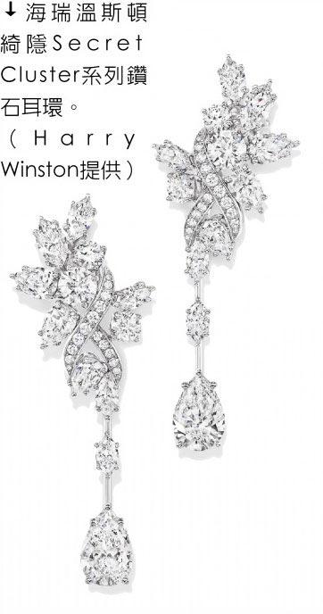海瑞溫斯頓綺隱Secret Cluster系列鑽石耳環。(Harry Winston提供)