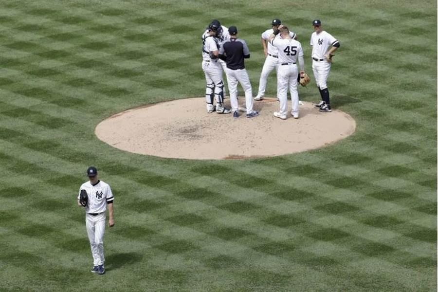 洋基投手傑哈普被打退場。(美聯社)