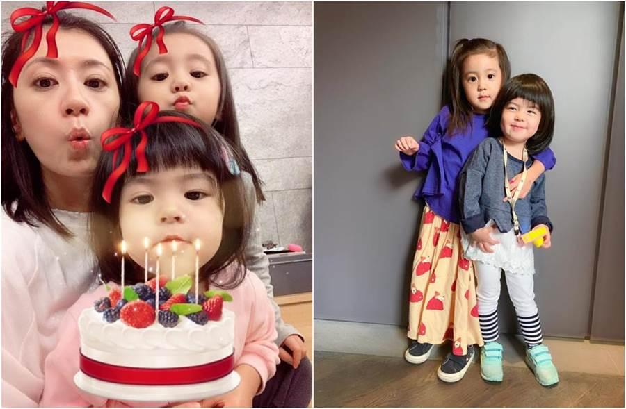 賈靜雯今帶咘咘、Bo妞出門,分享育兒日常。(圖/翻攝自臉書)