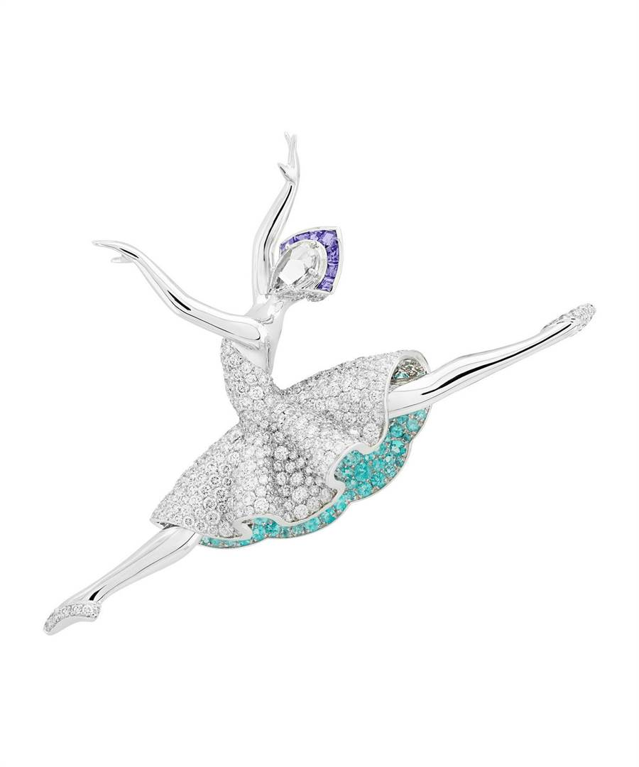 梵克雅寶Giselle ballerina芭蕾舞伶胸針,將舞者曼妙跳躍的姿態瞬間永遠留存。(Van Cleef & Arpels提供)
