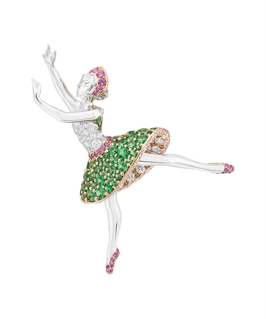 梵克雅寶Flora Ballerina芭蕾舞伶胸針。(Van Cleef & Arpels提供)