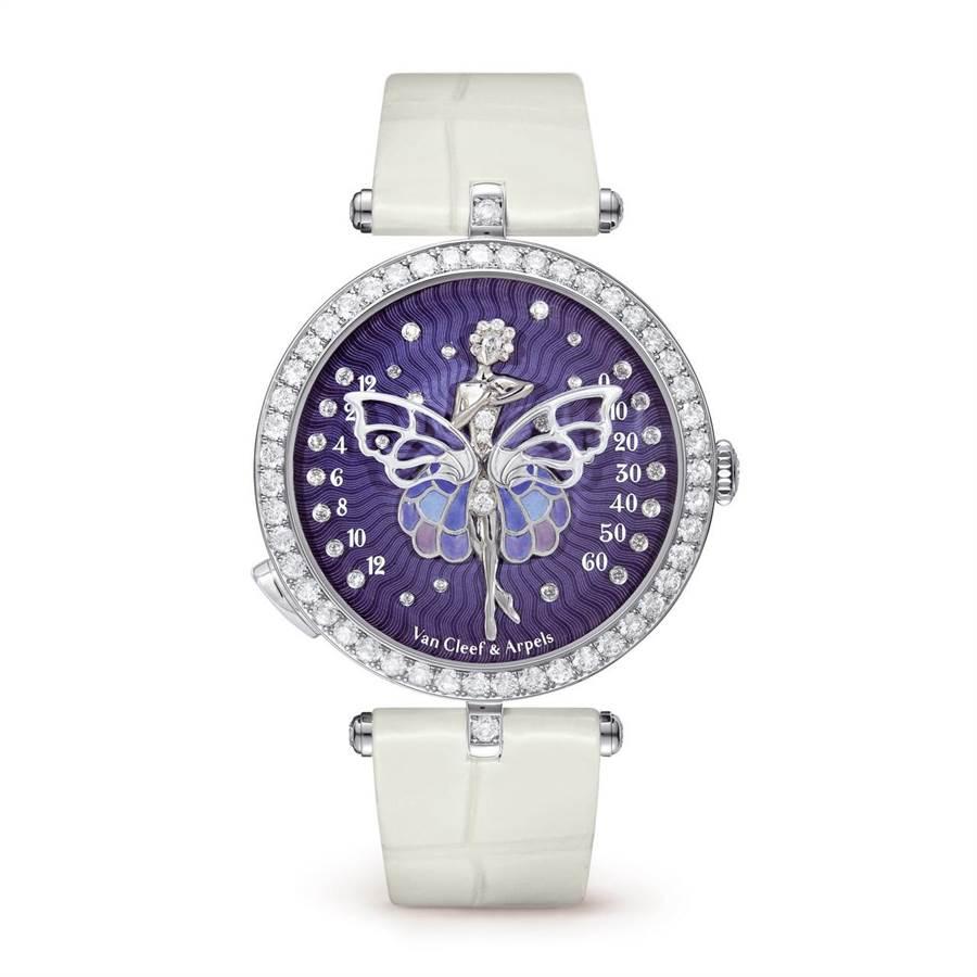 梵克雅寶Lady Arpels Ballerine Enchantee腕表,以飄逸飛揚的舞襬讀取時間,十分趣味。(Van