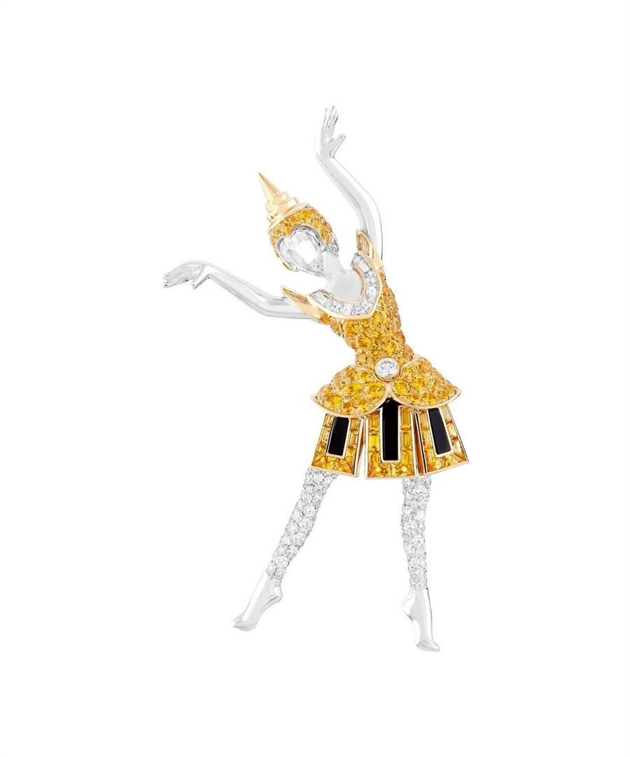 以泰國傳統舞蹈為靈感打造的梵克雅寶Danseuse thailandaise芭蕾舞伶胸針,充滿東方風情。(Van Cleef