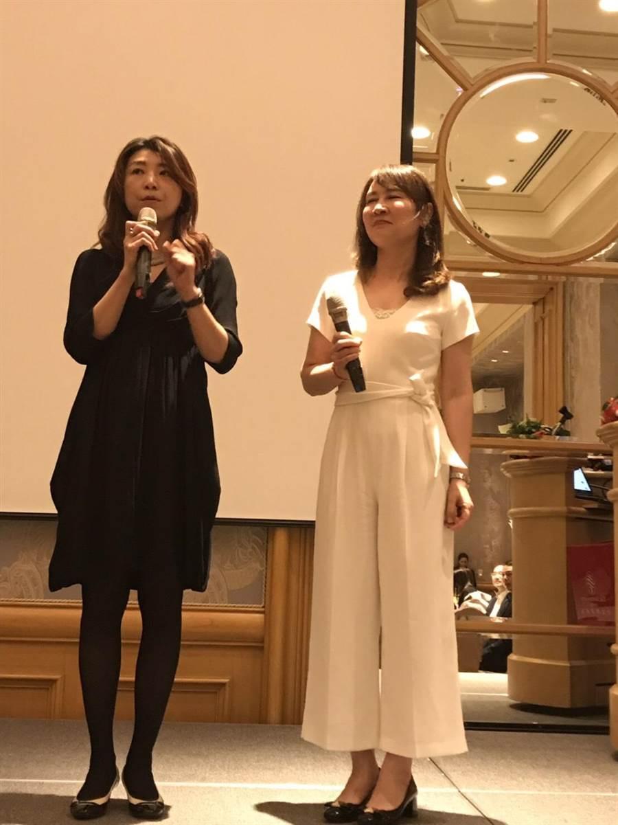 兩人在悅榕庄推廣活動上當貴賓,一黑一白、一搭一唱,默契十足。圖:蘭虹提供