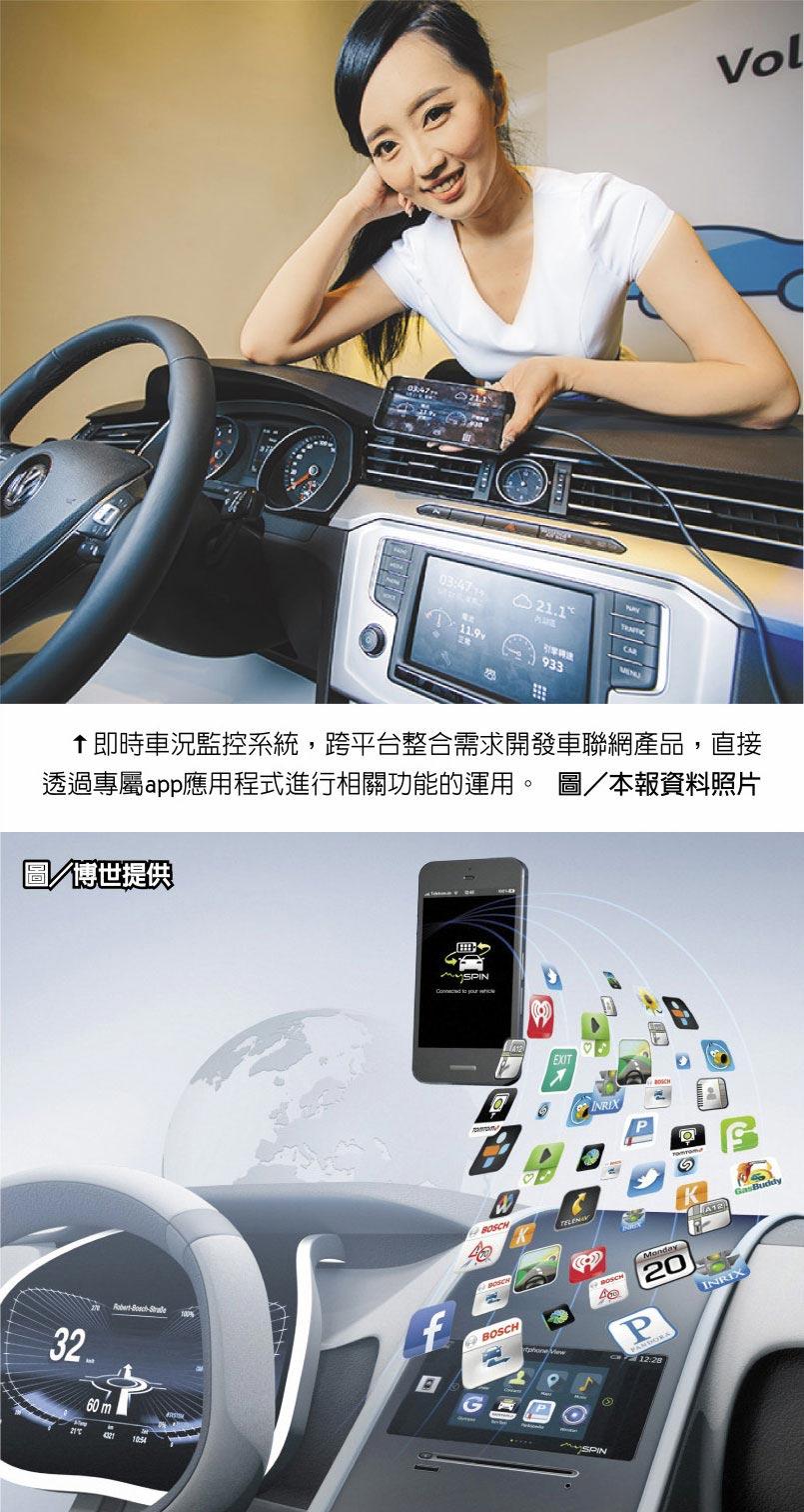 即時車況監控系統,跨平台整合需求開發車聯網產品,直接透過專屬app應用程式進行相關功能的運用。圖/本報資料照片圖/博世提供