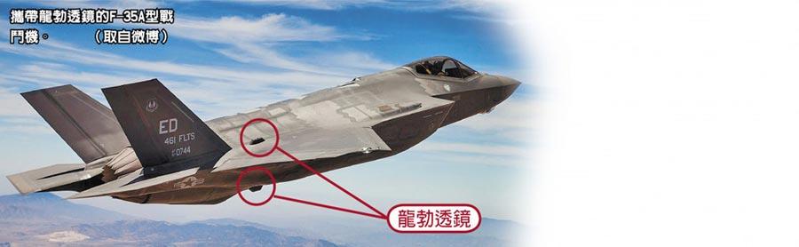 攜帶龍勃透鏡的F-35A型戰鬥機。(取自微博)