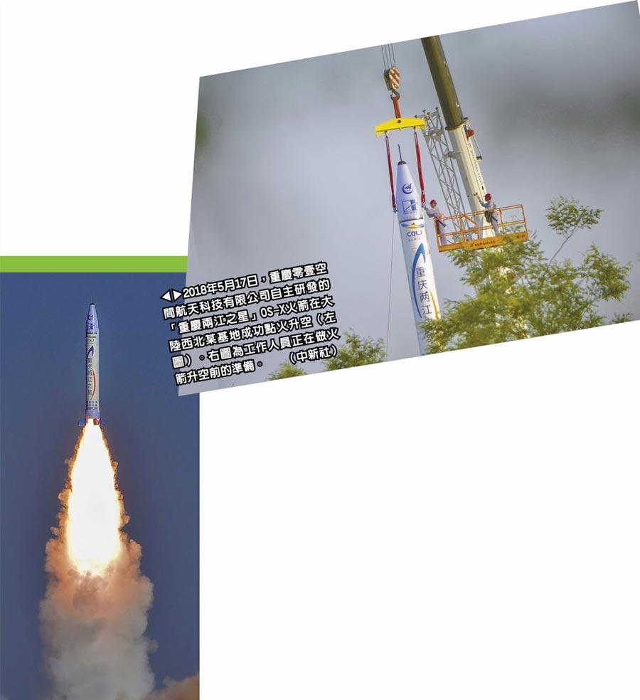 2018年5月17日,重慶零壹空間航天科技有限公司自主研發的「重慶兩江之星」OS-X火箭在大陸西北某基地成功點火升空(左圖)。右圖為工作人員正在做火箭升空前的準備。(中新社)