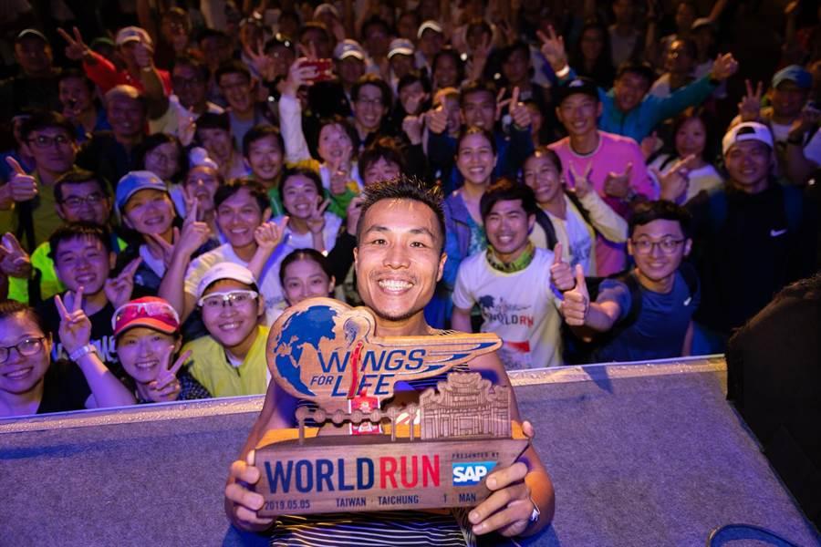 2019年Wing For Life台灣賽道男子冠軍,由地主選手李智群以53.2公里奪冠,成功拿下個人在這項賽事第三座冠軍。(Wings For Life提供)