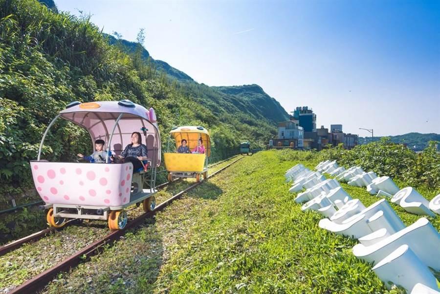 新北市春遊團體補助方案推出15條私房景點主題體驗遊程,圖為深澳鐵道自行車。(譚宇哲翻攝)