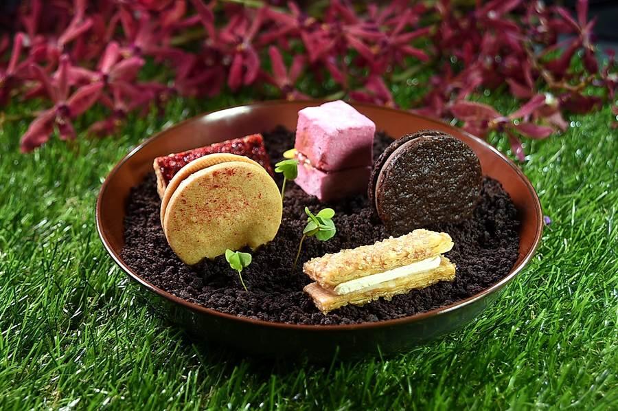 Season洪守成設計的甜點套餐第一道是由5個開胃小點共構的〈SEASON祕密花園〉,其中包括有:棉花糖夾心、酥烤千層派、波拉克、夏香與菲安娜。(圖/姚舜)