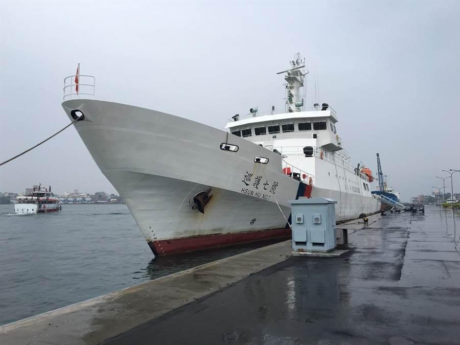 海巡署艦「巡護七號」順利執行為期60天的「中西太平洋公海漁業巡護」任務後,今天上午返抵國門。(圖:海巡署提供)