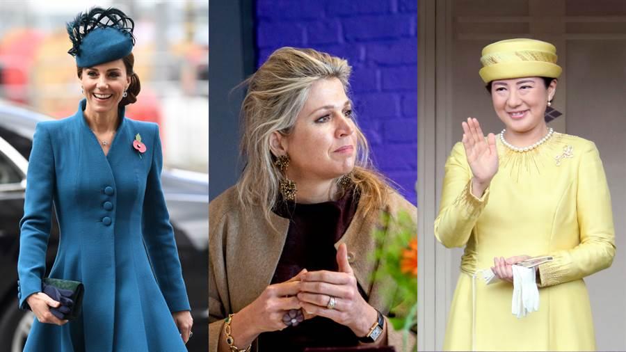 左至右 英國凱特王妃、荷蘭麥克西瑪皇后、日本雅子皇后。(圖/達志影像提供)