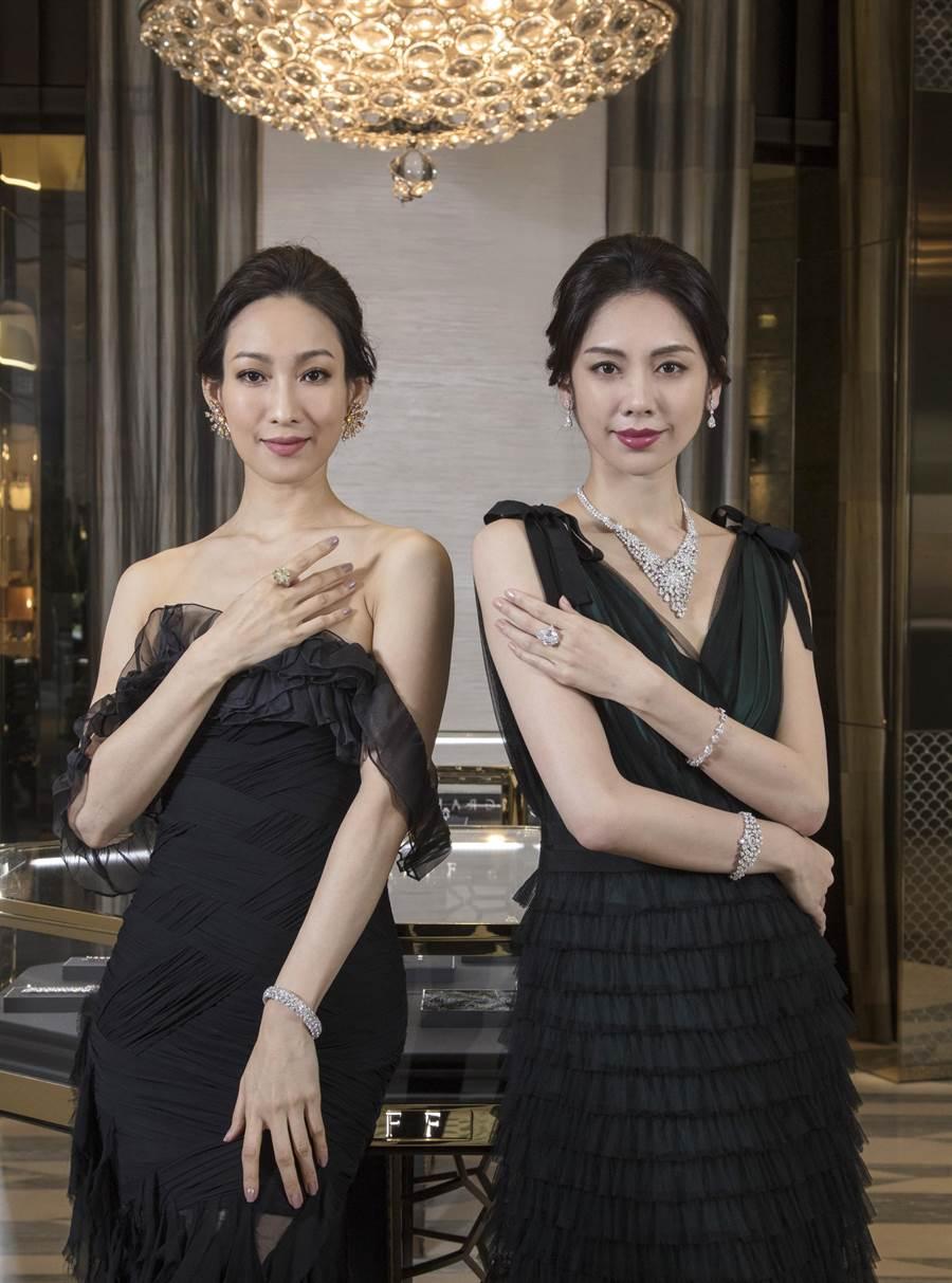 GRAFF逾30億珠寶登台,模特兒(右)展示系出史上第二大顆白鑽原石Lesedi La Rona的18.38克拉梨形鑽戒。(GRAFF提供)