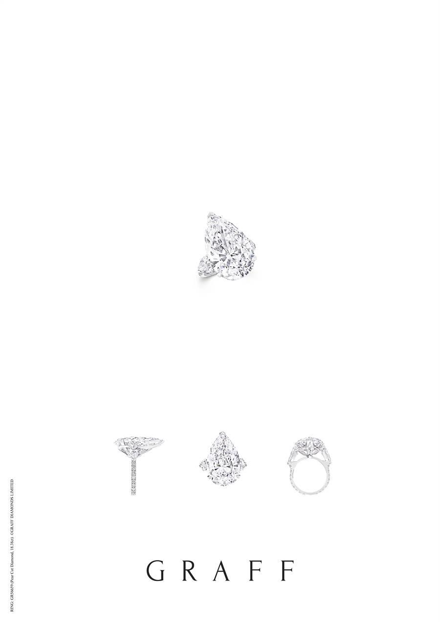格拉夫從史上第二大顆白鑽原石Lesedi La Rona切割而來的18.38克拉梨形鑽石戒指,是難得一見的傳奇名鑽。(GRAFF提供)