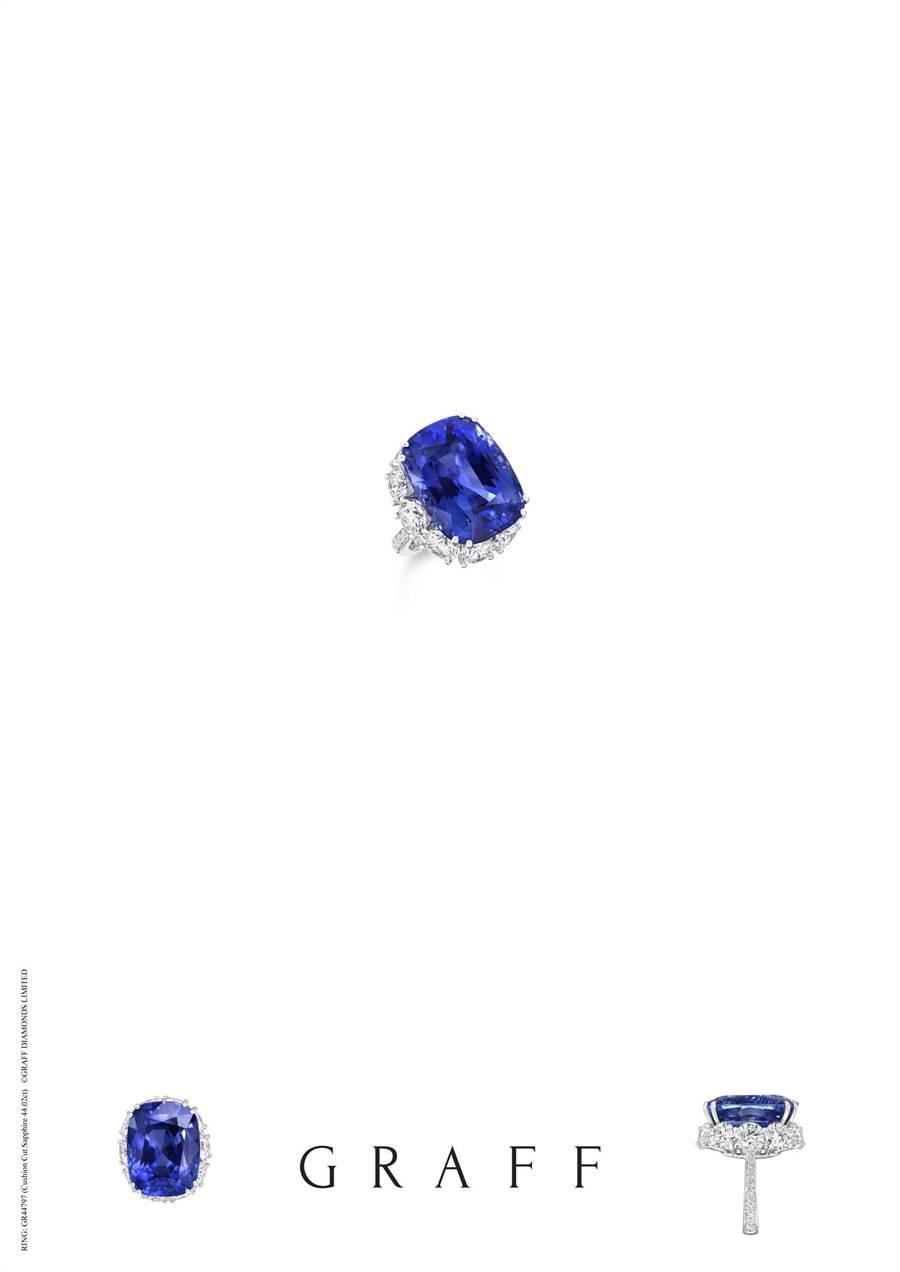 格拉夫44.02克拉枕形藍寶石戒指。(GRAFF提供)