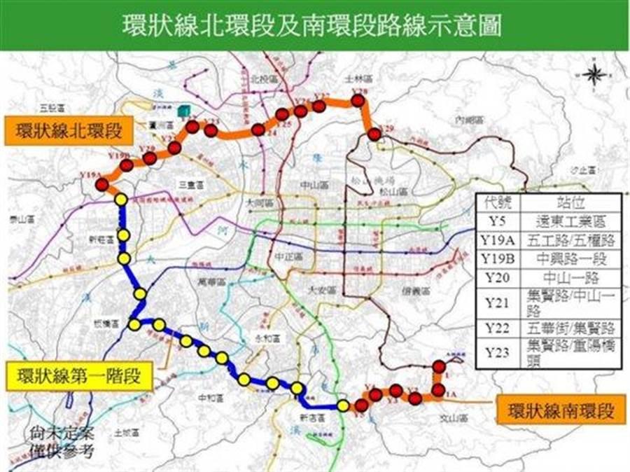捷運環狀線第二階段:北環段及南環段。 (新北市提供)