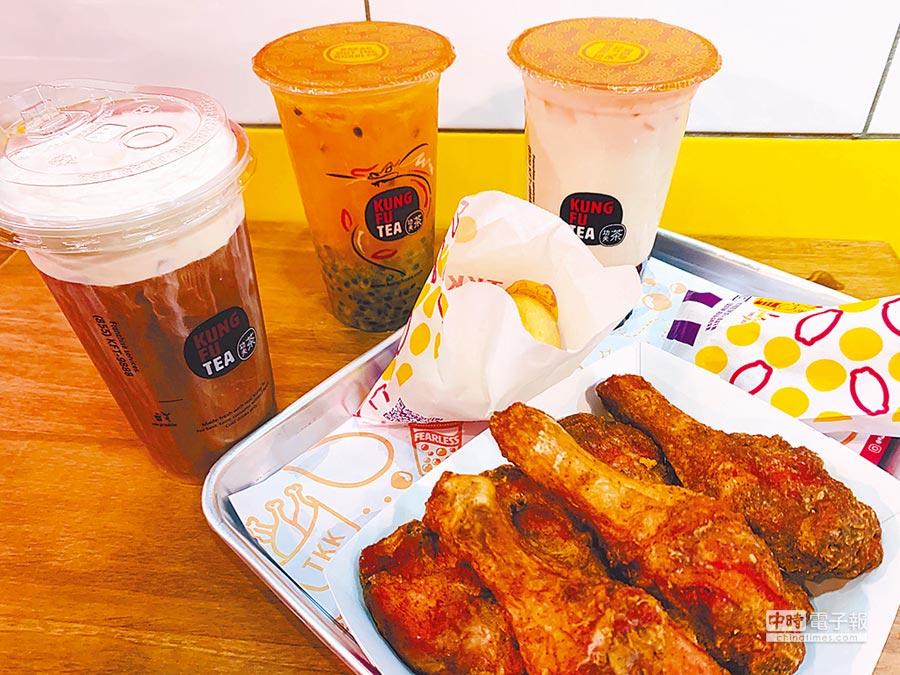 頂呱呱看好台灣飲食偏好,主打「炸雞配珍奶」吃法,平均套餐價180至200元起。(吳奕萱攝)