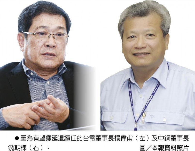 圖為有望獲延退續任的台電董事長楊偉甫(左)及中鋼董事長翁朝棟(右)。圖/本報資料照片