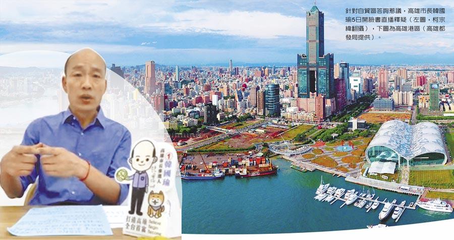 針對自貿區答詢惹議,高雄市長韓國瑜5日開臉書直播釋疑(左圖,柯宗緯翻攝),圖為高雄港區(高雄都發局提供)。