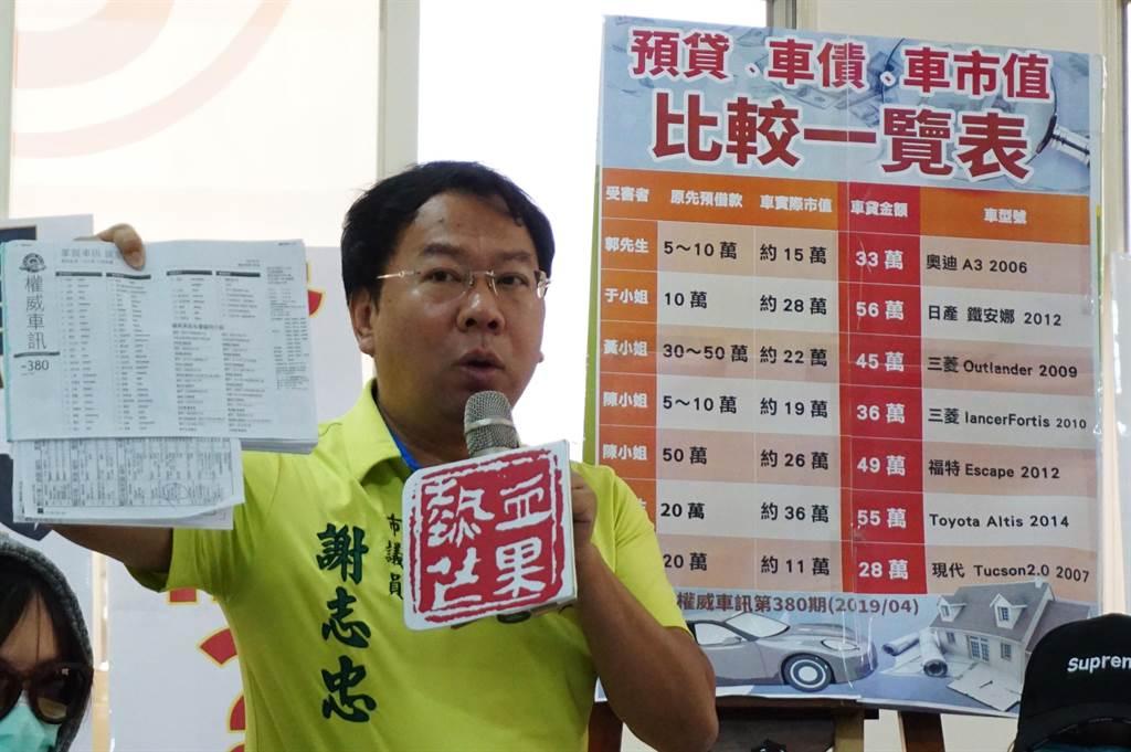 台中市議員謝志忠表示,陳情民眾的車貸金額,比市售行情高出2倍多,他懷疑「板信立銀」掛勾中古車行。(王文吉攝)