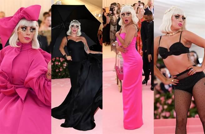 女神卡卡紅毯造型連4變,驚呆全場。(圖/達志影像)