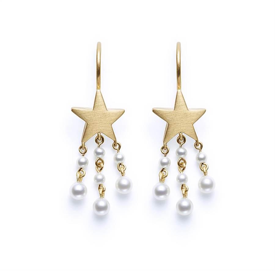TASAKI by MHT my sweet star 珍珠黃K金耳環,5萬7100元。(TASAKI提供)