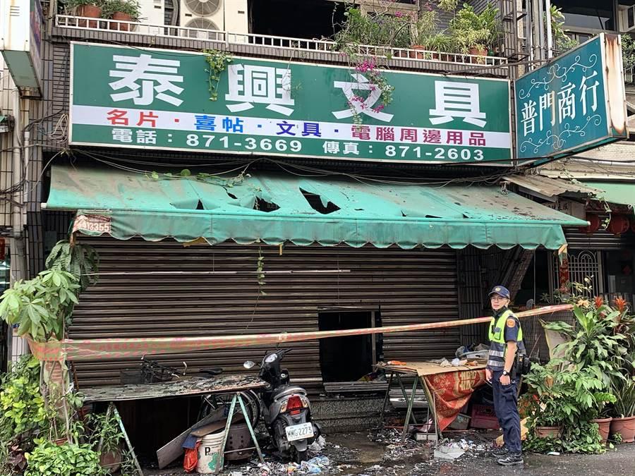 泰興書局暗夜發生惡火,釀成1死2命危悲劇。(柯宗緯攝)
