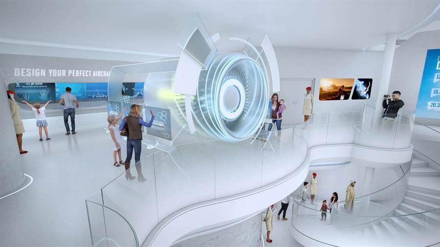 阿聯酋航空館採用充滿自然採光的空間設計,減少能源消耗。圖:業者提供