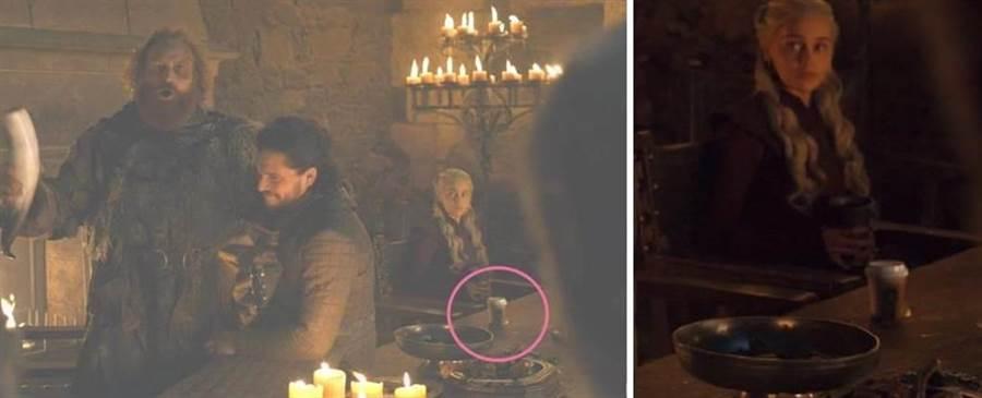 「冰與火之歌:權力遊戲」劇中桌上竟然出現疑似星巴克杯搞「穿越」,HBO不僅承認出錯,也不忘幽默回應「龍后點的其實是花草茶」。(HBO)