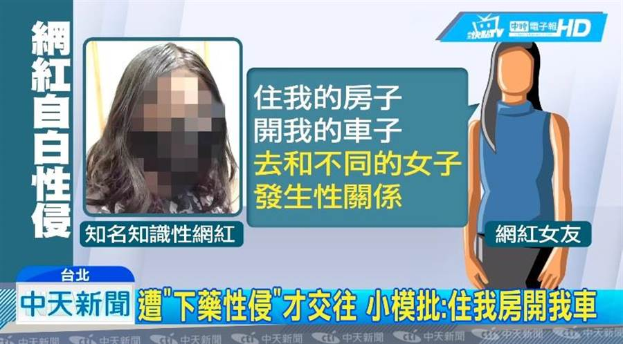 網紅曾下藥性侵的前女友也是另名網紅。(圖/中天新聞)