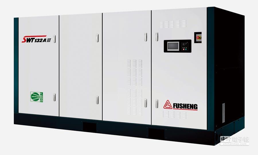 復盛新推出SWT乾式無油螺旋式空氣壓縮機,減少潤滑油廢液對環境帶來污染。圖/業者提供