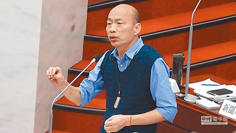 高雄巿長韓國瑜6日在巿議會答詢表示自貿區是管理的問題。(曹明正攝)