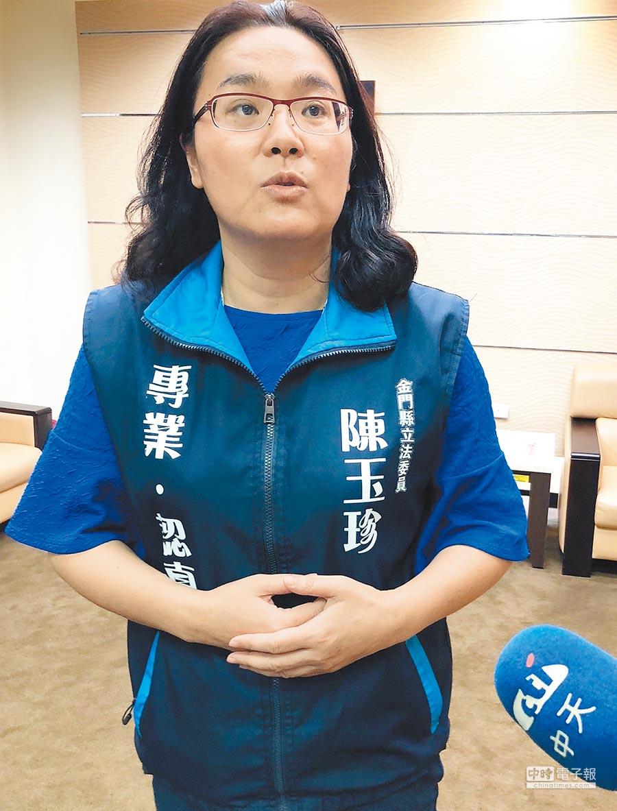立委陳玉珍積極配合國民黨團運作,展現披上藍袍競選連任的決心。(李金生攝)