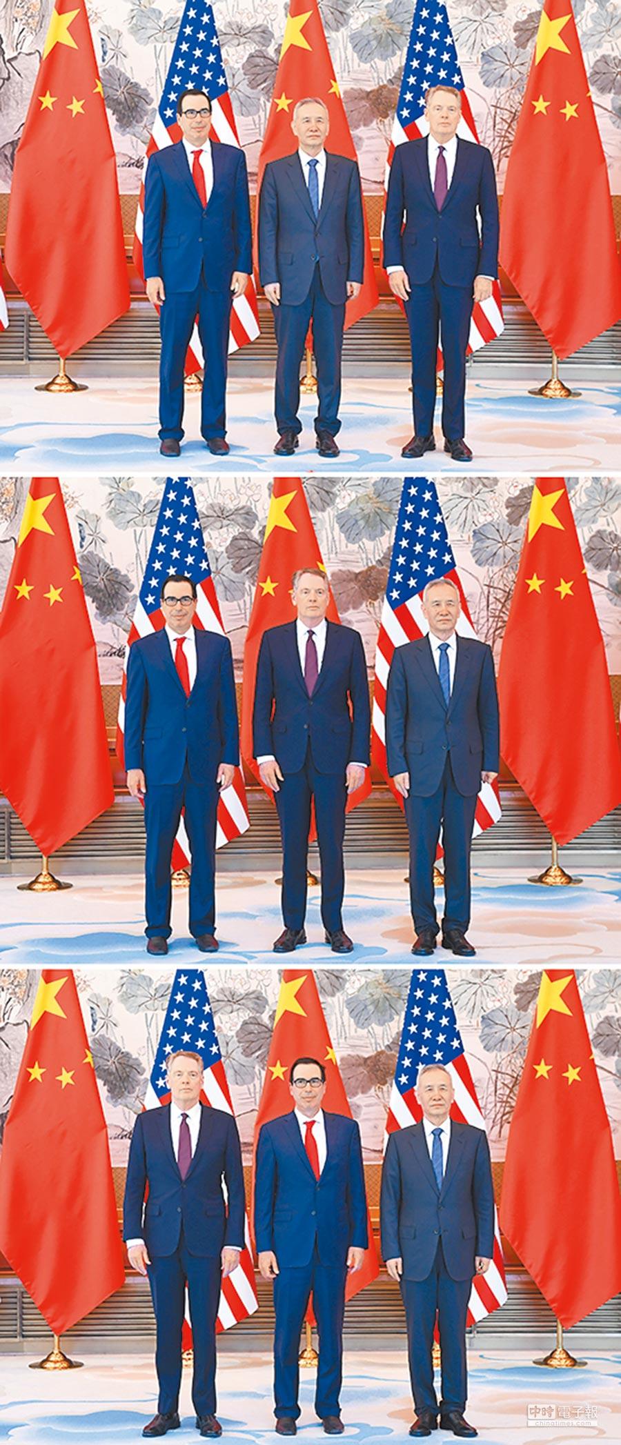 4月30日至5月1日,大陸國務院副總理劉鶴(中)與美國貿易代表萊特希澤(右)、財政部長努欽(左)在北京舉行第10輪中美經貿高級別磋商。(新華社)