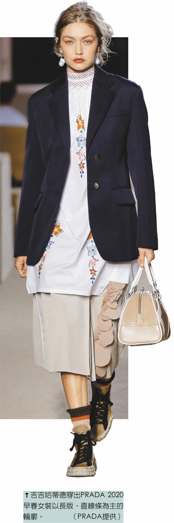 吉吉哈蒂德穿出PRADA 2020早春女裝以長版、直線條為主的輪廓。(PRADA提供)