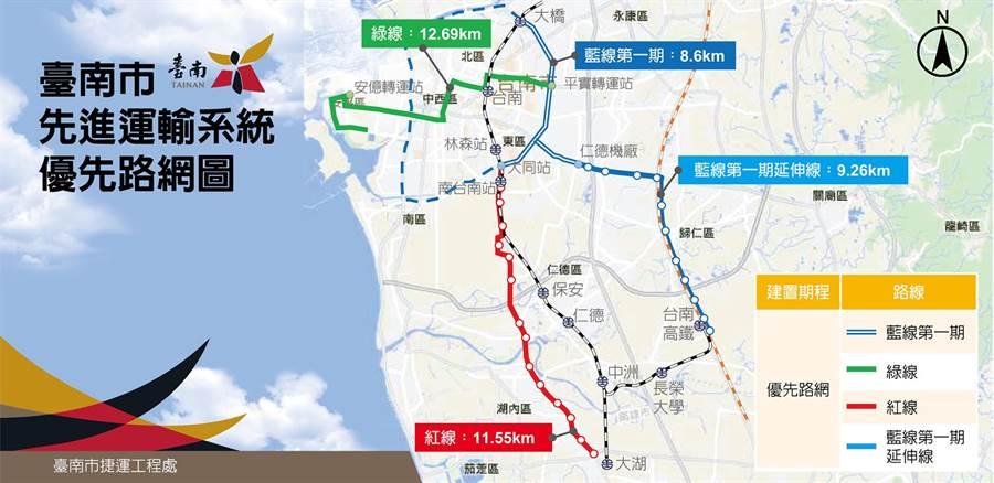 台南市先進運輸系統(捷運)優先路網圖。(洪榮志翻攝)