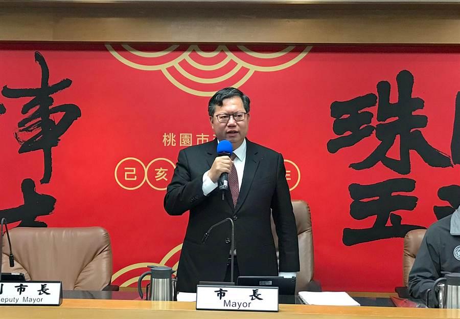 桃園市長鄭文燦表示,考英文還是考德文?黨會有智慧來解決。(甘嘉雯攝)