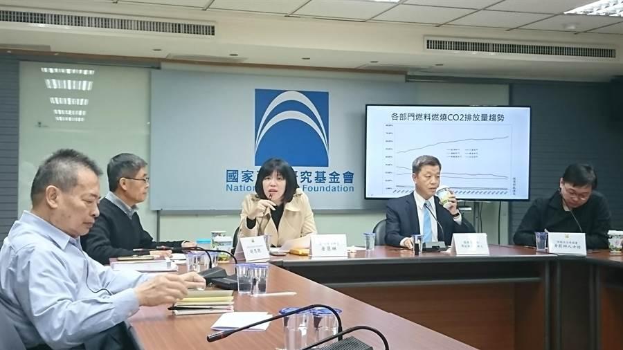 國家政策研究基金會今(8)日召開記者會,批評蔡政府能源政策失當。(李侑珊攝)