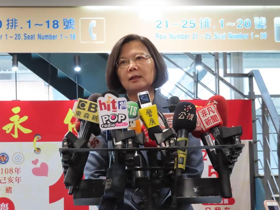 美通過台灣保證法,蔡英文認為是再次顯現台灣與美國友好。(葉德正攝)