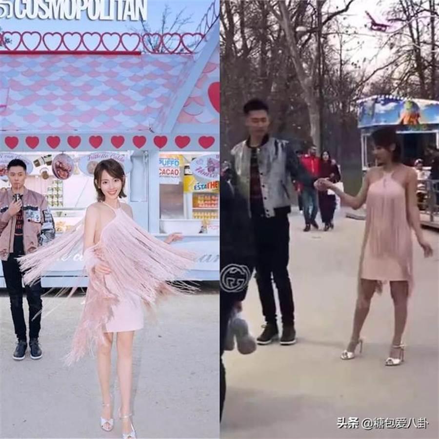 張嘉倪在鏡頭前後的膚色引起網友討論。(圖/微博)