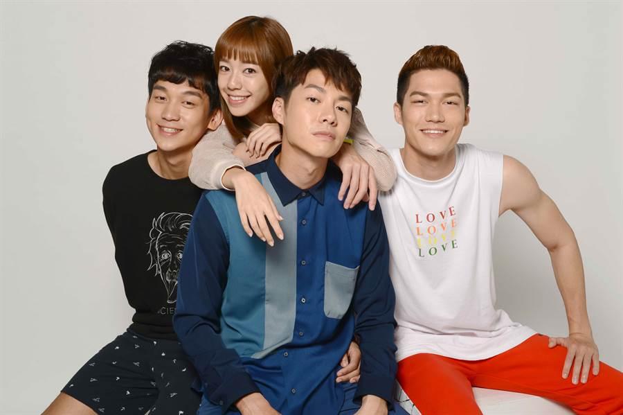 簡劭峰(左起)、 陳天仁、 陳信維、莊迦漢。(八大)