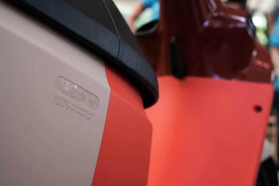 Gogoro 3車殼採用食用等級無毒塑料。(郭吉銓攝)