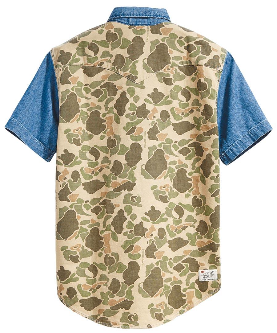 LEVI'S短袖印花丹寧襯衫,2990元。(LEVI,S提供)