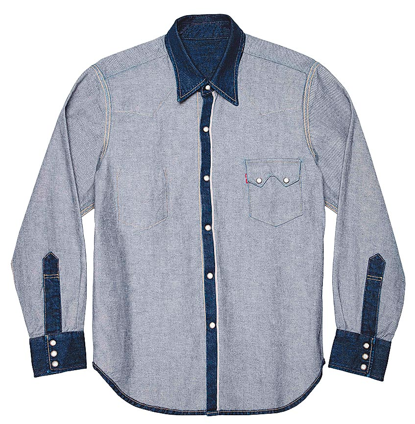 LEVI,S x BEAMS INSIDE OUT內外反轉丹寧襯衫,8100元。(LEVI,S提供)