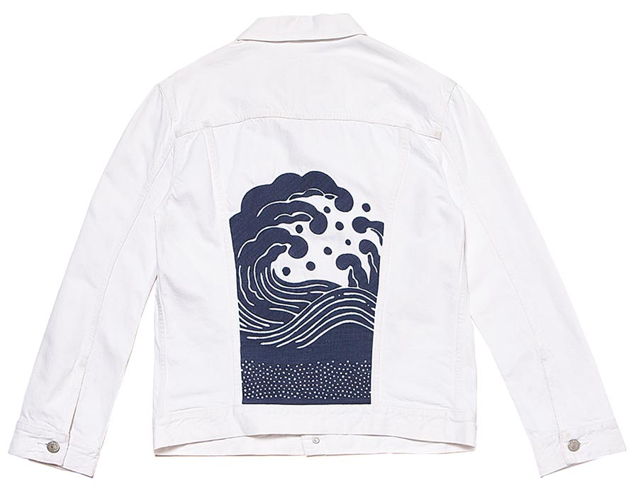 LEVI'S Wellthread xOuterknown Trucker Jacket刺繡丹寧夾克,4390元。(LEVI,S提供)